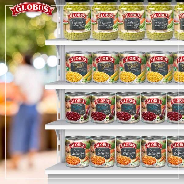Globus konzerve na policama u marketu