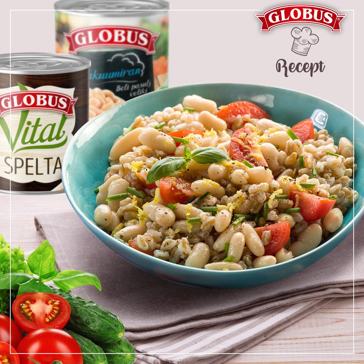 Salata sa speltom, pasuljem, čeri paradajzom i krastavcem